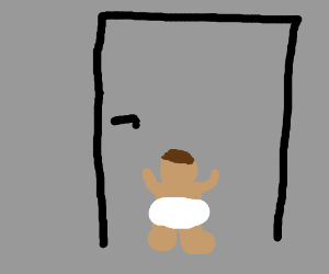 baby tries to open a door, but is too small