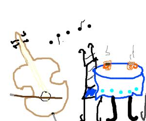 Artsy cello music in a cafe