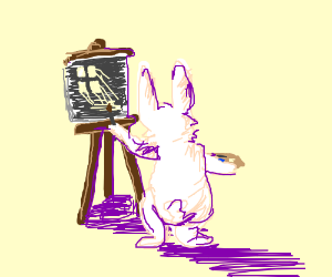 Rabbit's painting of moonlight thru a window.