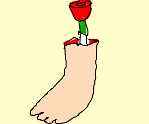 Red flowers grow from the bone of severed foot