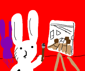 Rabbit w/purple shadow paints attic scene
