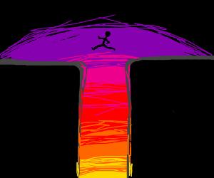 Parkour roofgap at sunset.