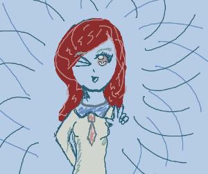 school girl winks