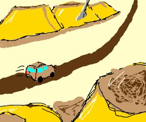 Driving through dessert desert