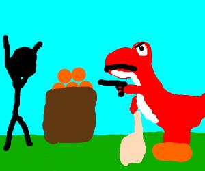 Red Yoshi says 'Gimme Yo Fruit'
