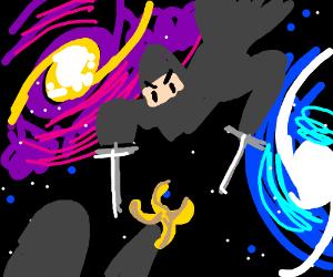 Ninjas battle each other in space