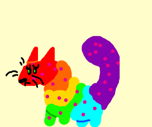 Rainbow bearcat has measles