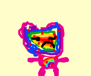 Depressed rainbow carebear with chicken pox