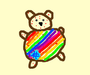 Rainbow teddy bear with chickenpox