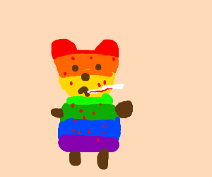 Rainbow teddy bear catches chicken pox
