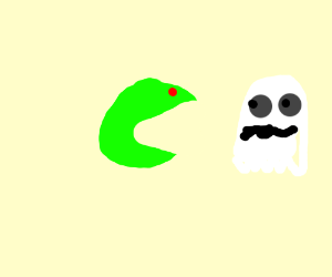 Demonic Pacman Eyes scaring a white ghost