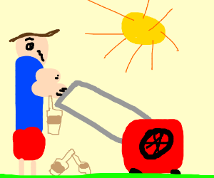 Drunk Guy Mowing His Lawn