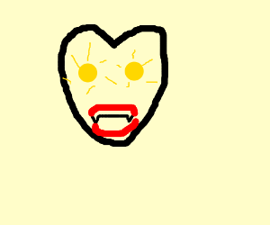 That mask has teeth and glowing yellow eyes D: