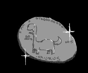 A quarter with a dinosaur design