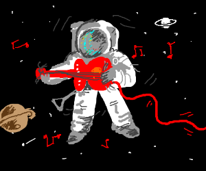 astronaut playing guitar in space - photo #15
