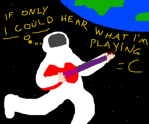 An astronaut playing electric guitar in space