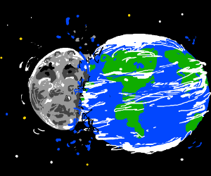 The moon collides onto Planet Earth.