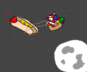 man uses hot dog to guide him in the moonlight