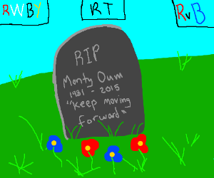 """Monty Oum's tombstone, """"keep moving forward"""""""