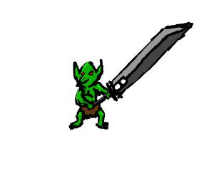 goblin with cloud's sword