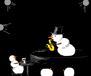 Snowman plays saxophone at jazz club.