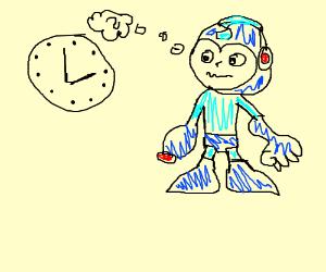 Megaman cannot read a clock.
