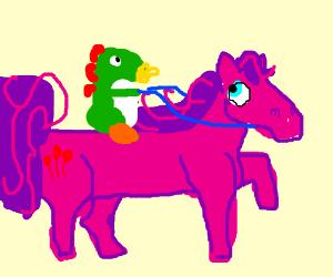 Baby Mario Yoshi rides pink My Little Pony