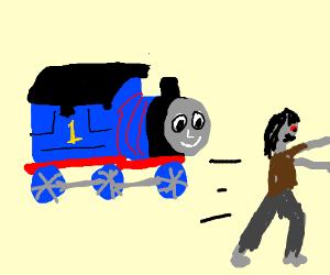 zombie runs away from Thomas the train