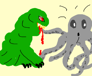 monster feeds on tentacle