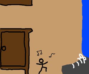 Mini dancing guy next to cupboard