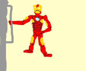 Iron Man hold giant iron
