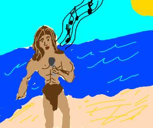 Tarzan singing on a beach