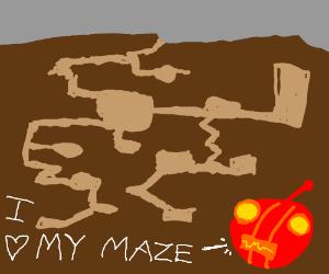 Cyborg caveman has intricate cave