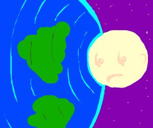 Moon smashes earth; looks sad
