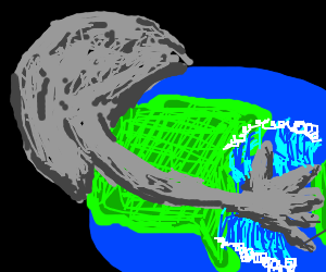 Sad Moon nuzzles the Earth, causes tidal waves