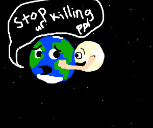 The moon hugs the earth, destructivly
