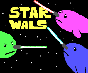 Starwal: Neon space narwals fight eachother