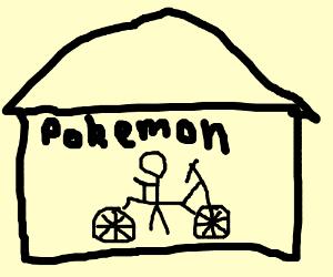 "House with ""Pokemon"" written on it"