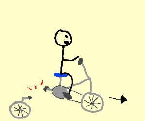 Attempting to ride a broken bike
