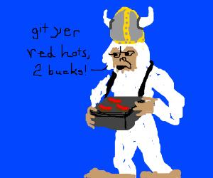 A Viking Yeti selling hot dogs.