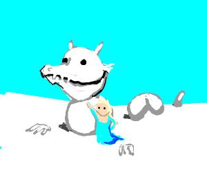 Elsa tames snow dragon