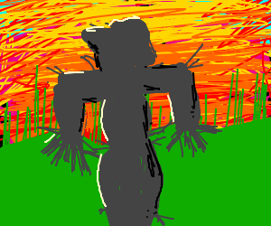Scarecrow watches the sunset