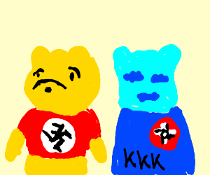 Nazi Poohbear with blue KKK clan member
