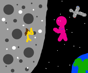 Woman on moon begs purple astronaut for air