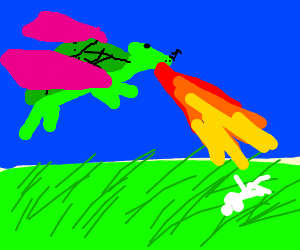 evil turtle dragon terrorizes meadow