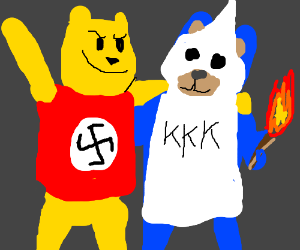 Pooh is a nazi & is friends w/ blue KKK bear