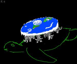 Sea turtle/mini elephants holding flat earth