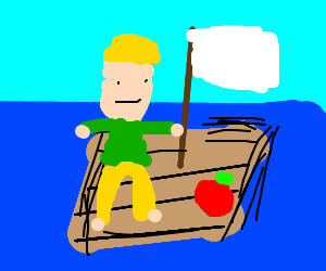 Boy on a raft sails with an apple