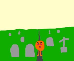 A kawaii orange person in a graveyard