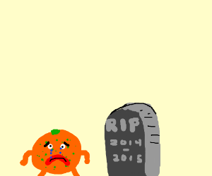 sad little orange man at a graveyard